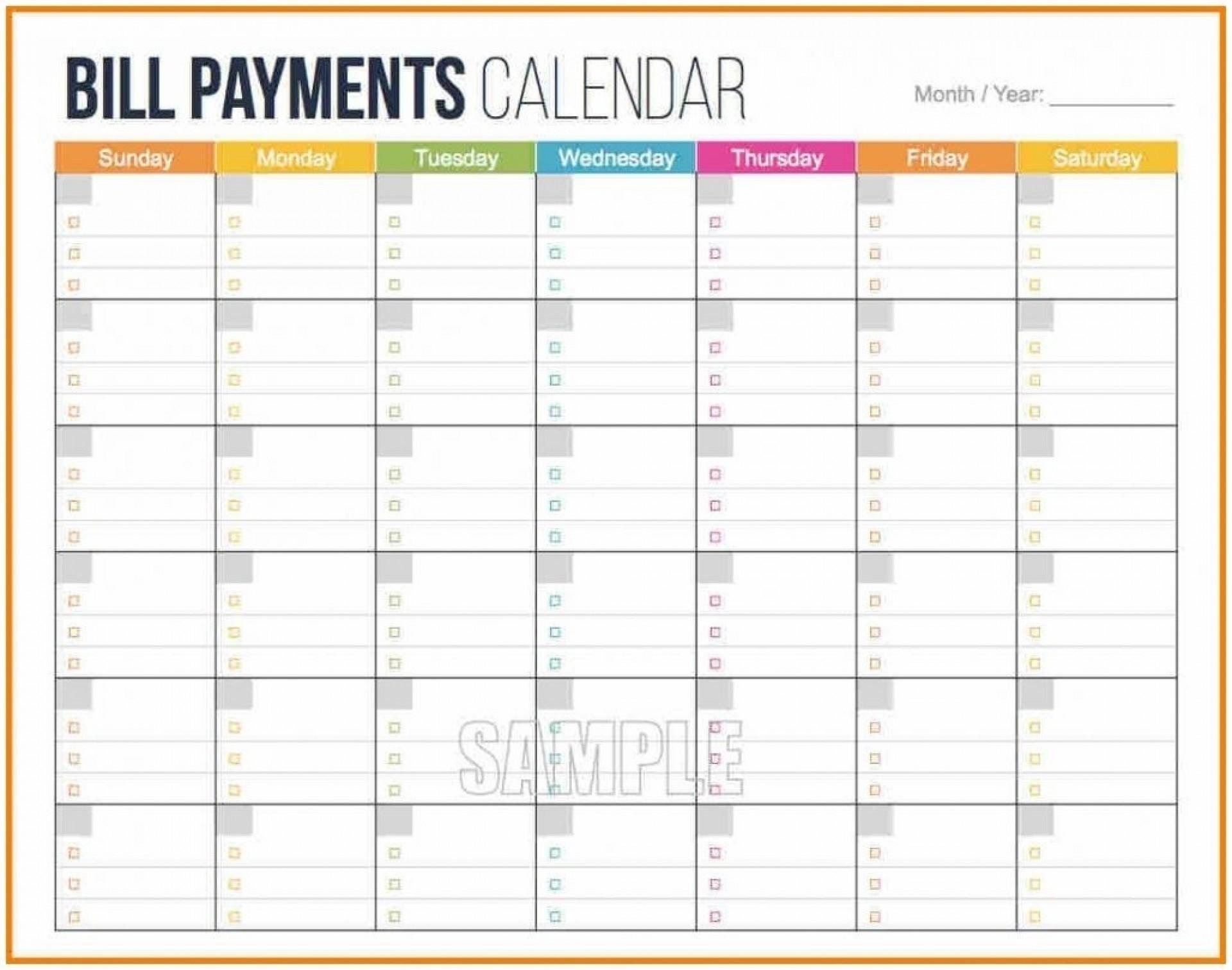 Printable Bill Calendar 2020 Monthly | Calendar Template  Printable Bill Pay Calendar 2020
