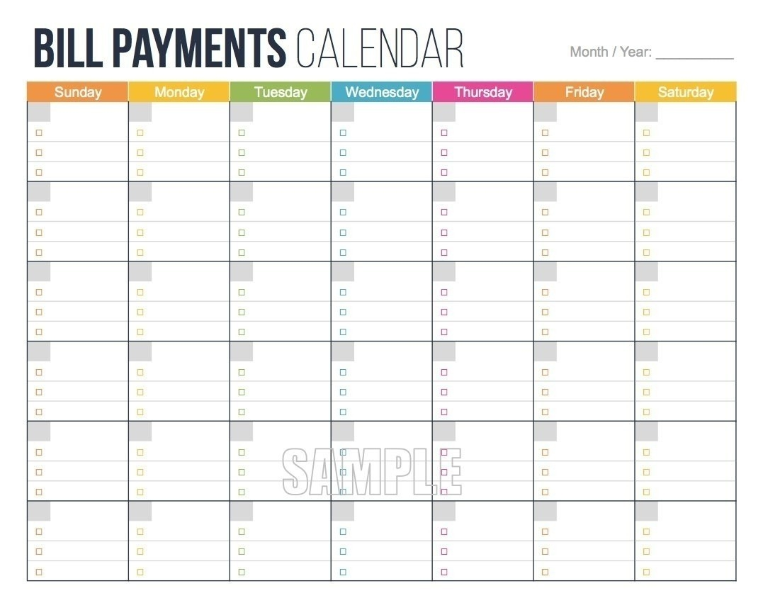 Printable Bill Calendar 2020 Monthly | Calendar Template  Printable Monthly Bill Calendar