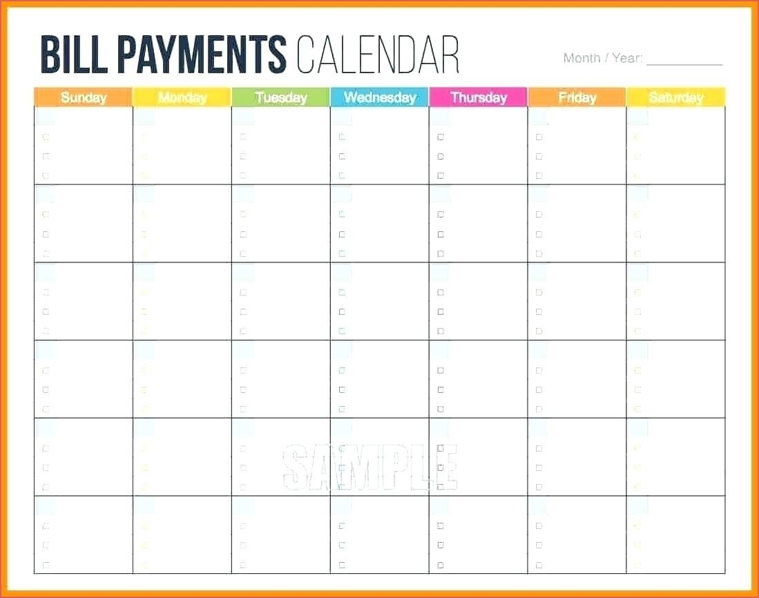 Printable Bill Month Calendar Pages - Calendar Inspiration  Printable Monthly Bill Calendar