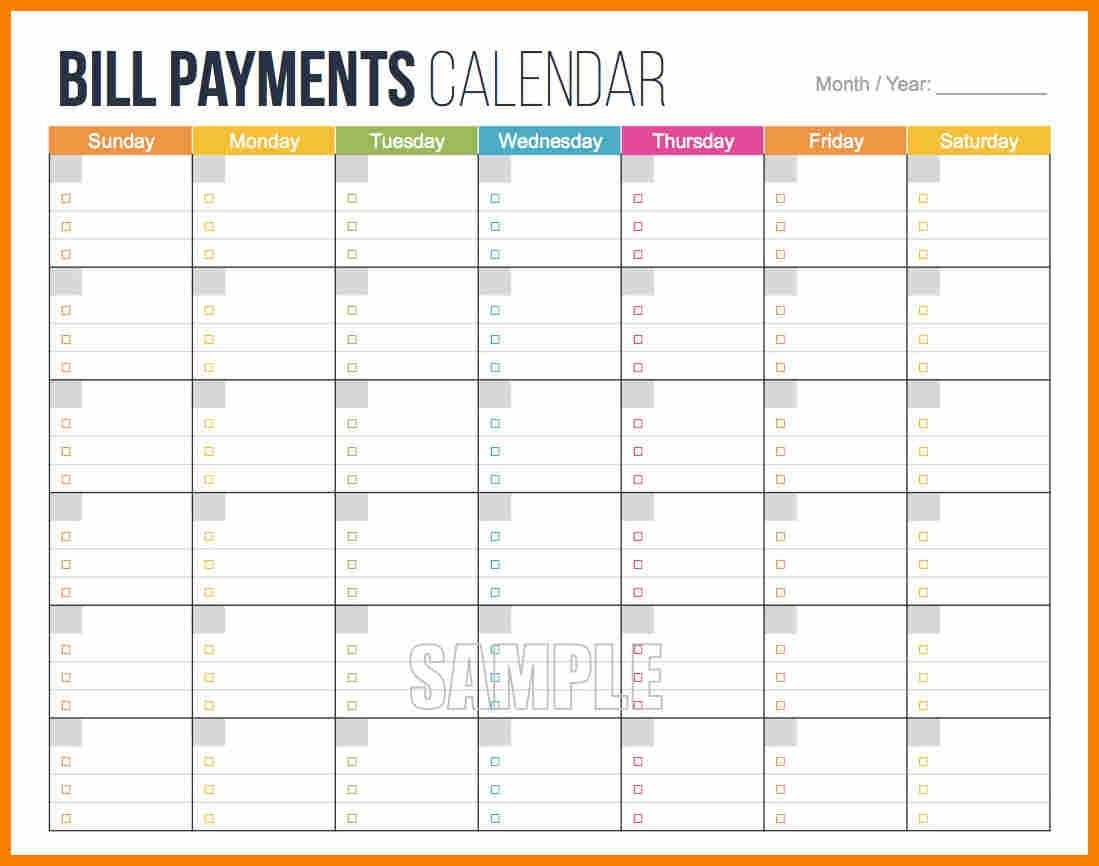 Printable Bill Payment Schedule - Akali  Printable Monthly Bill Calendar