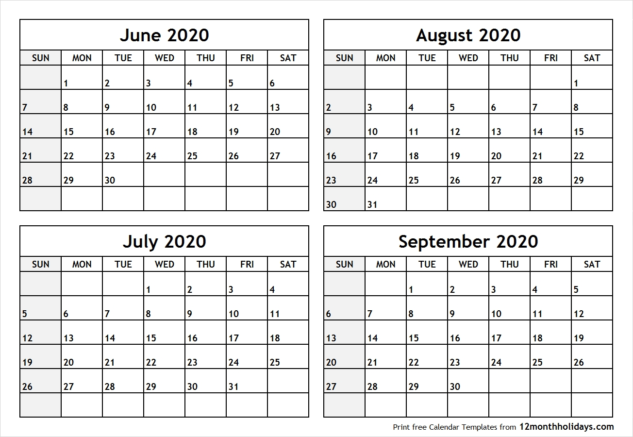 Printable Blank Four Month June July August September 2020  June July August September 2020 Calendar