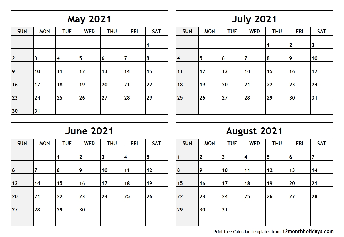 Printable Blank Four Month May June July August 2021  Excel 4 Month 2021 Calendar Template