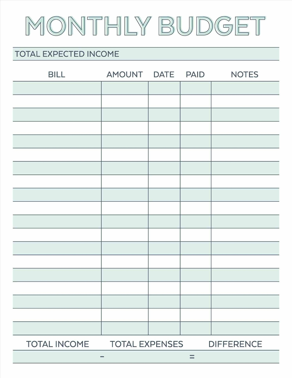 Printable Blank Hourly Income Worksheet | Beauty Calendar  Free Printable Bill Pay Worksheet