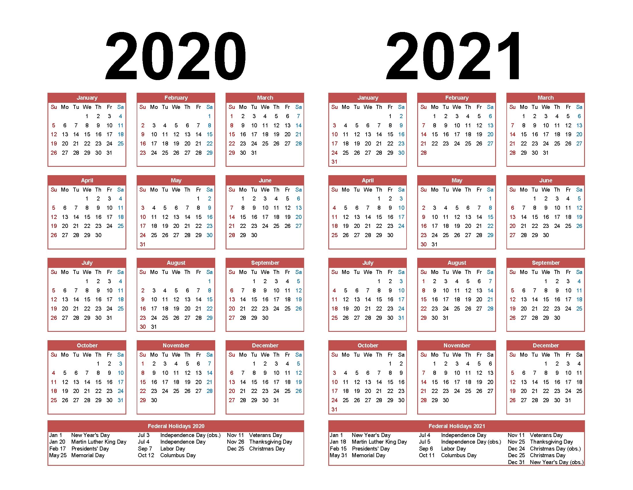 Printable Calendar 2020 2021 Two Year Per Page Free Pdf  Printable 12 Month 2020 2021 Calendar
