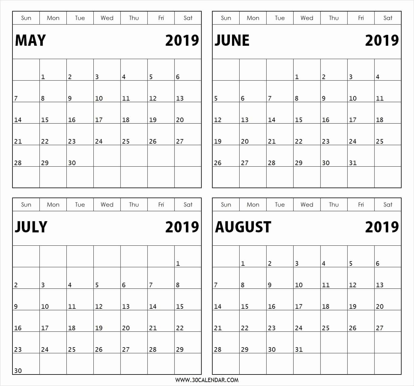 Printable Calendar 2020 4 Months Per Page | Monthly  4 Months Per Page Calendar Printable