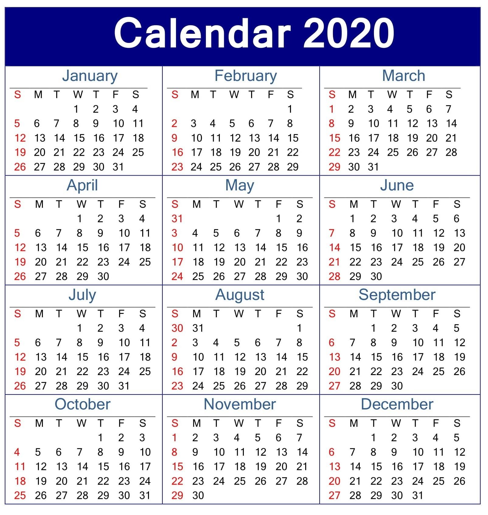 Printable Calendar 2020 Pdf Template – Free Latest Calendar  A3 Printable Calendar 2020