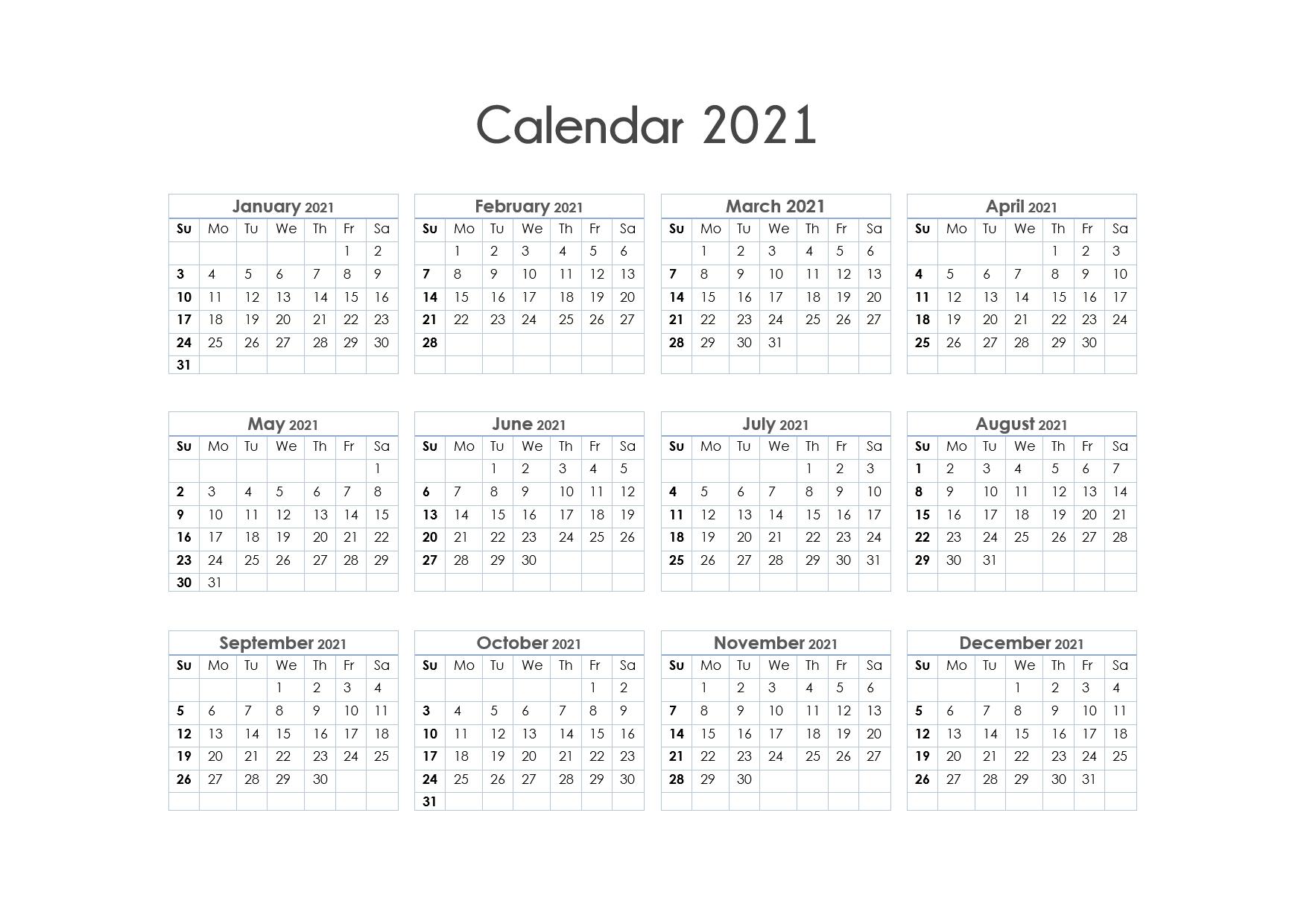 Printable Calendar 2021 One Page, Yearly Calendar, Blank  12 Month Calendar 2021 Printable