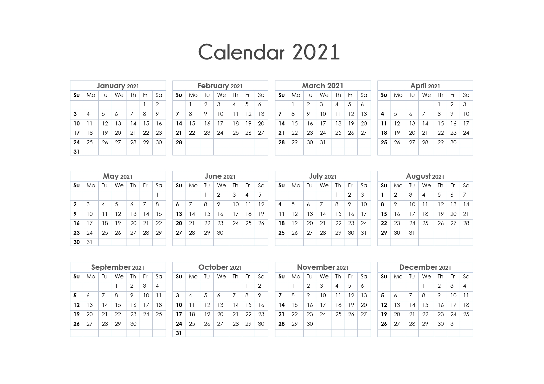 Printable Calendar 2021 One Page, Yearly Calendar, Blank  2021 Full Year Calendar