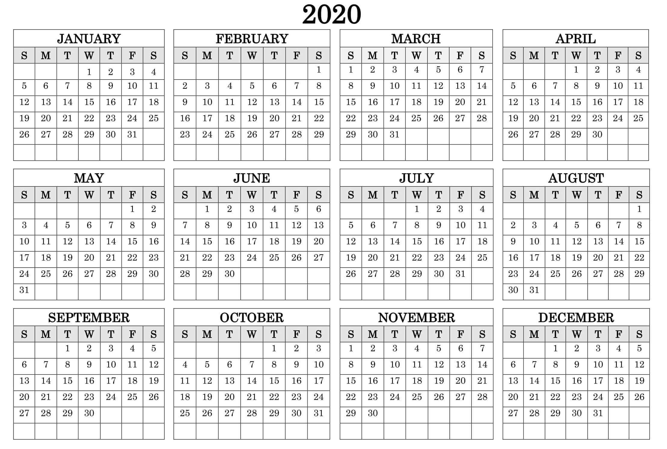 Printable Calendar Year 2020 Holidays Fillable Pdf - Set  12 Month Calendar Free Printable