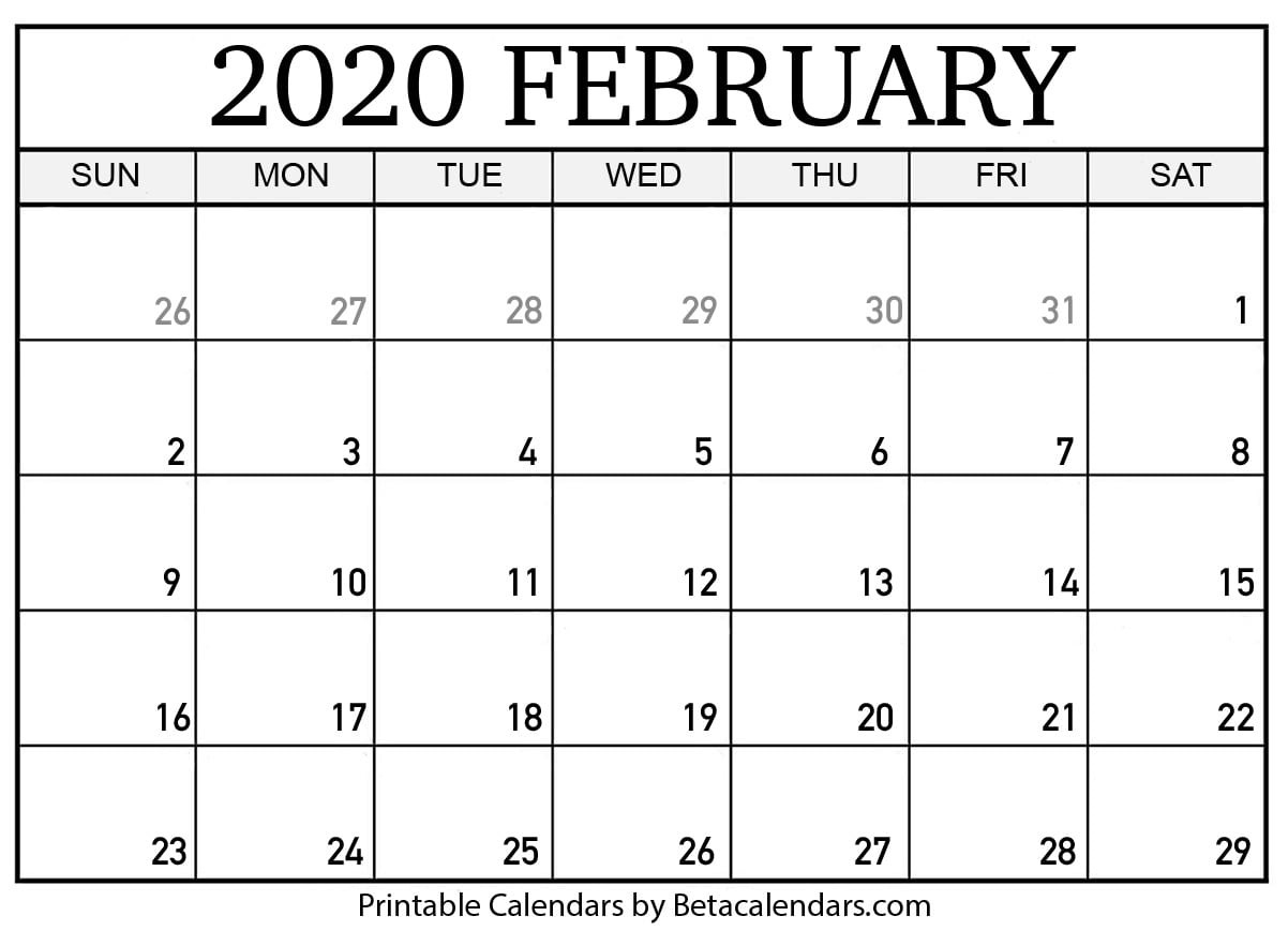 Printable February 2020 Calendar - Beta Calendars  Feb 2020 Calendar