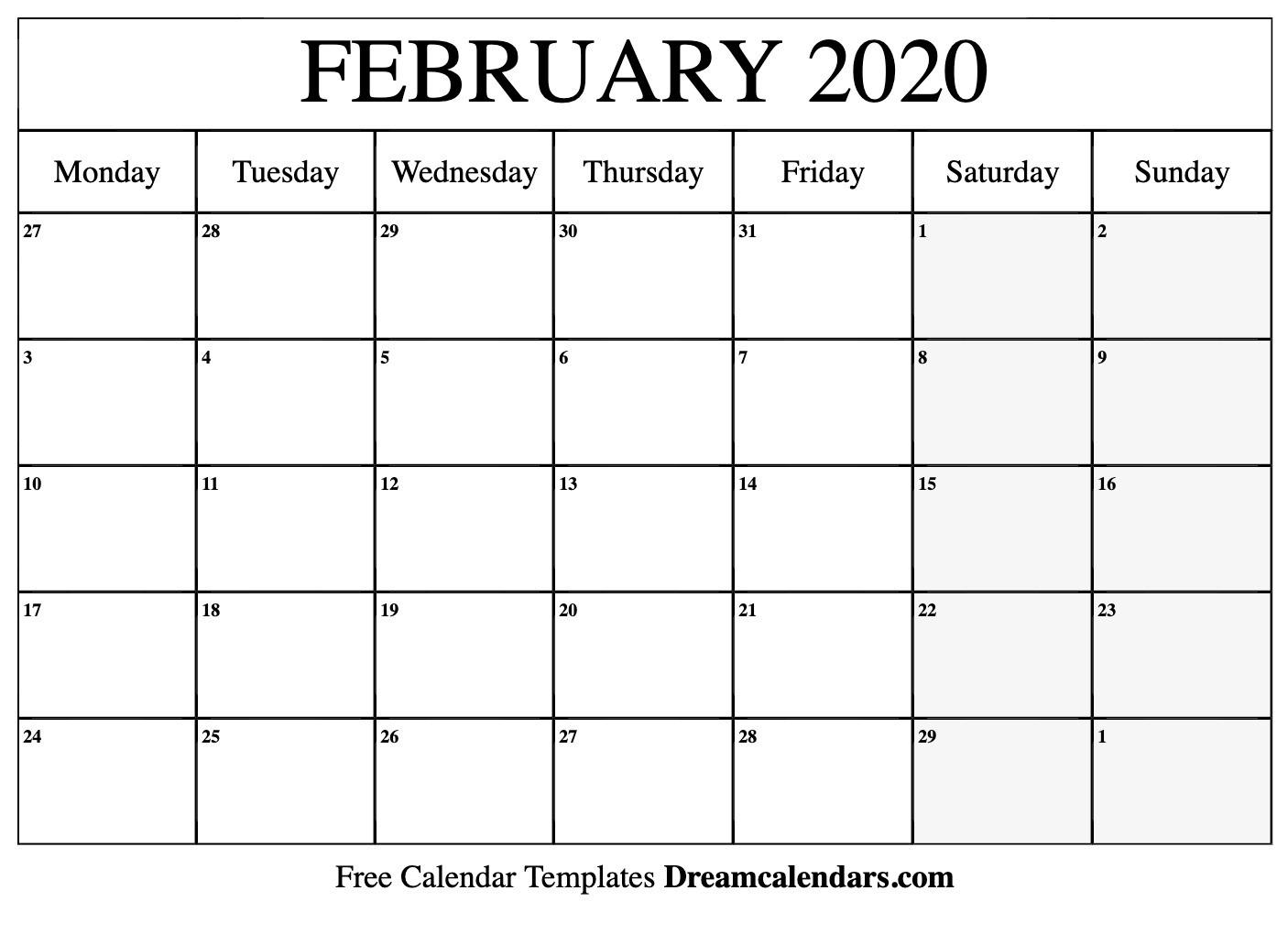 Printable February 2020 Calendar  Feb 2020 Calendar