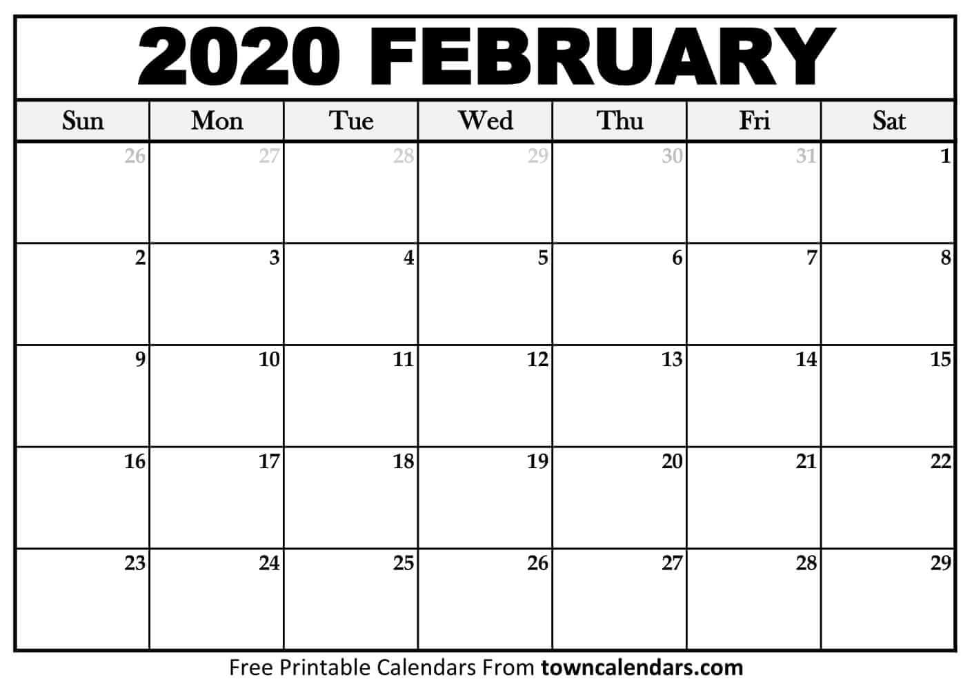 Printable February 2020 Calendar - Towncalendars  Feb 2020 Calendar