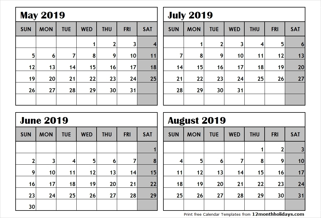 Printable Four Months Per Page 2020 Calendar | Example-4  4 Months Per Page Calendar Printable