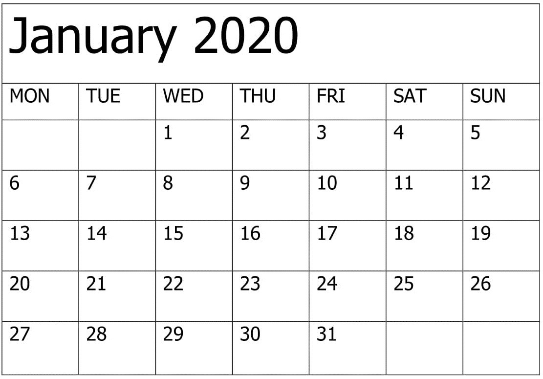 Printable January 2020 Calendar Editable Pages – Free Latest  Free Printable Editable Calendars 2020