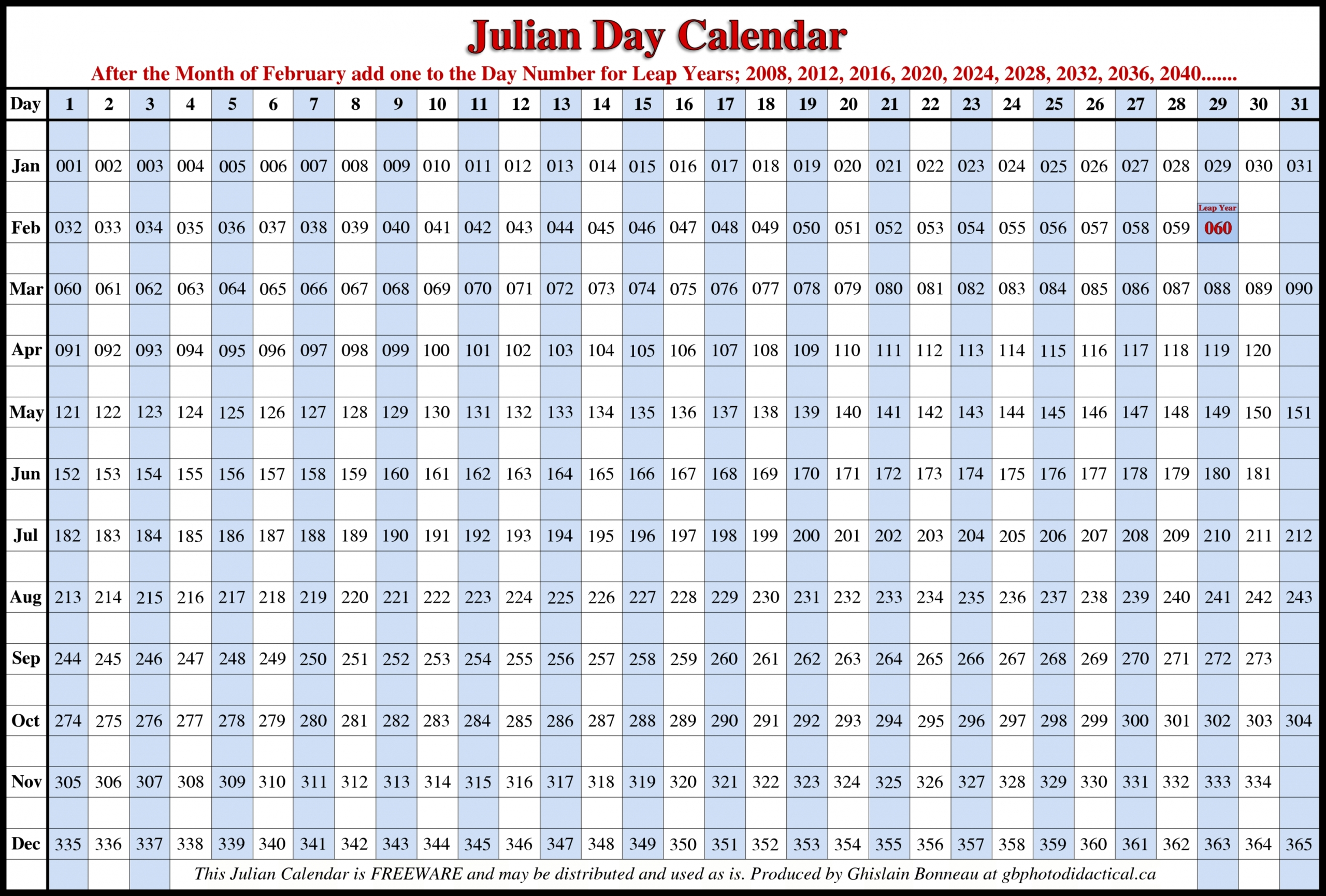 Printable Julian Calendar 2020 Di 2020 (Dengan Gambar)  Julian Calendar 2020