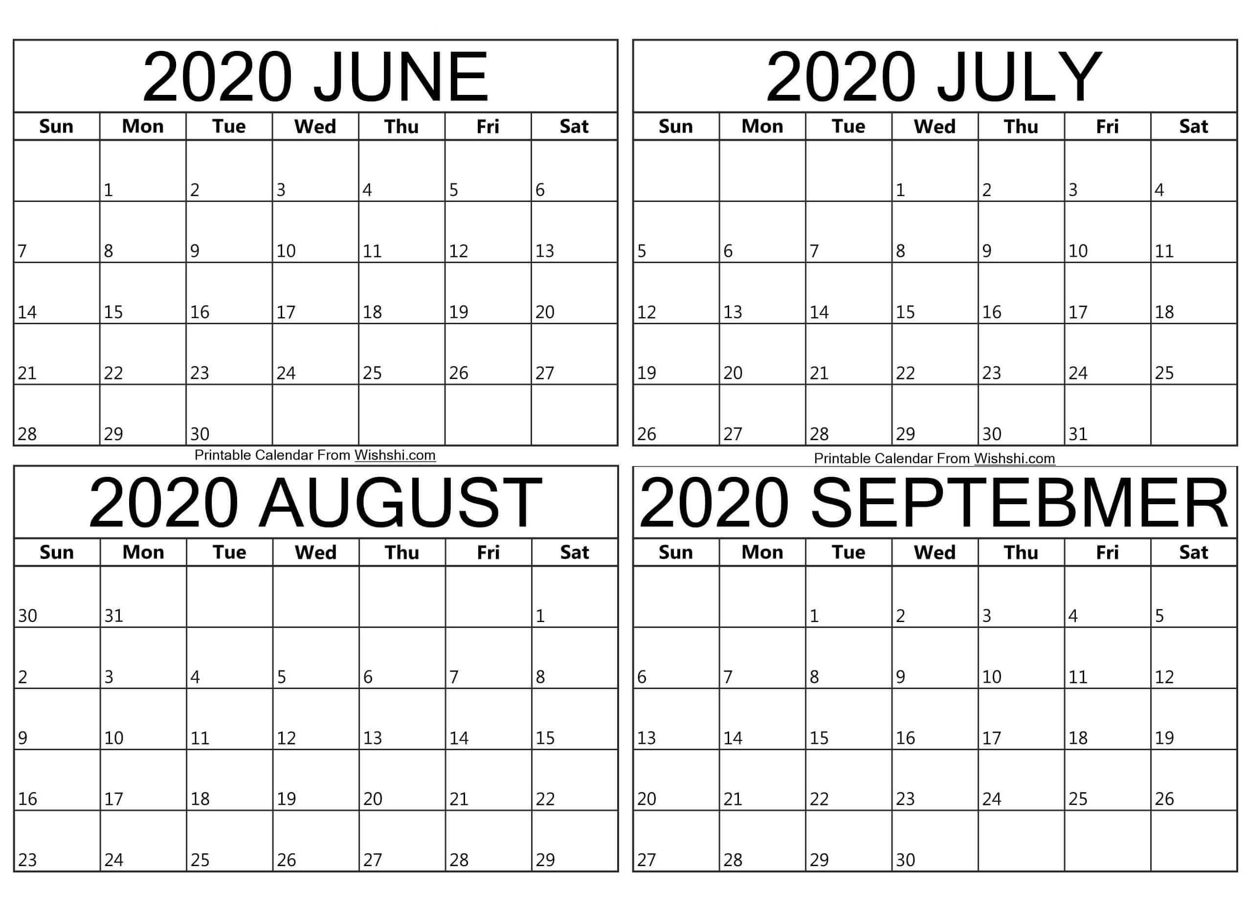 Printable June To September 2020 Calendar - Free Printable  June July August September 2020 Calendar