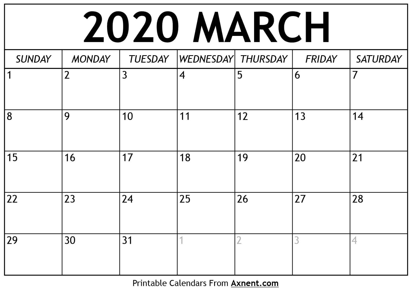 Printable March 2020 Calendar Template - Time Management  Full Size Printable Calendar 2020