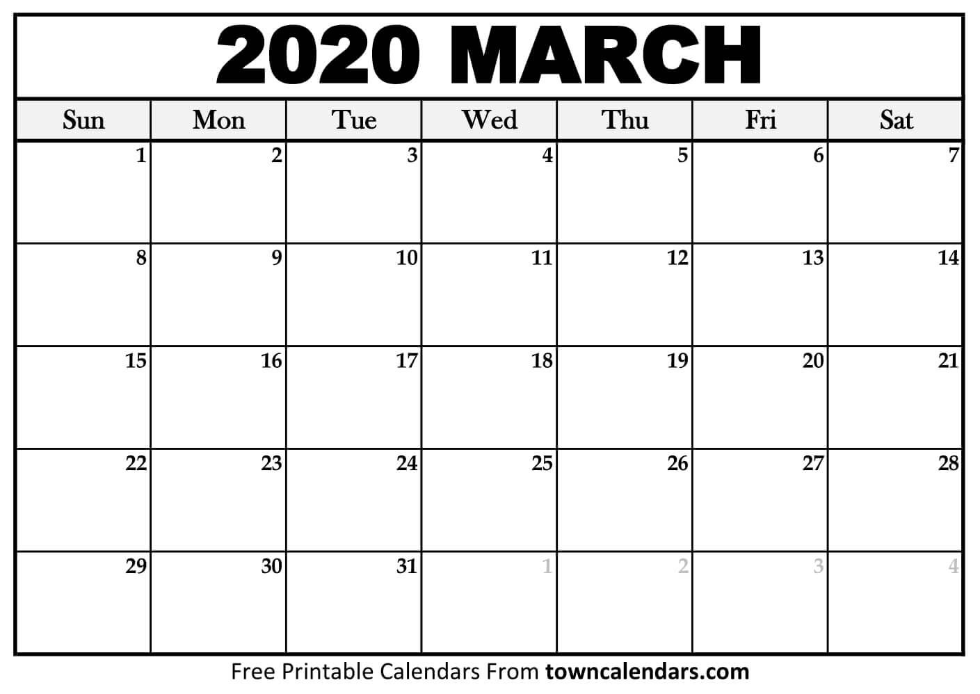 Printable March 2020 Calendar - Towncalendars  Printable March 2020 Calendar Pdf