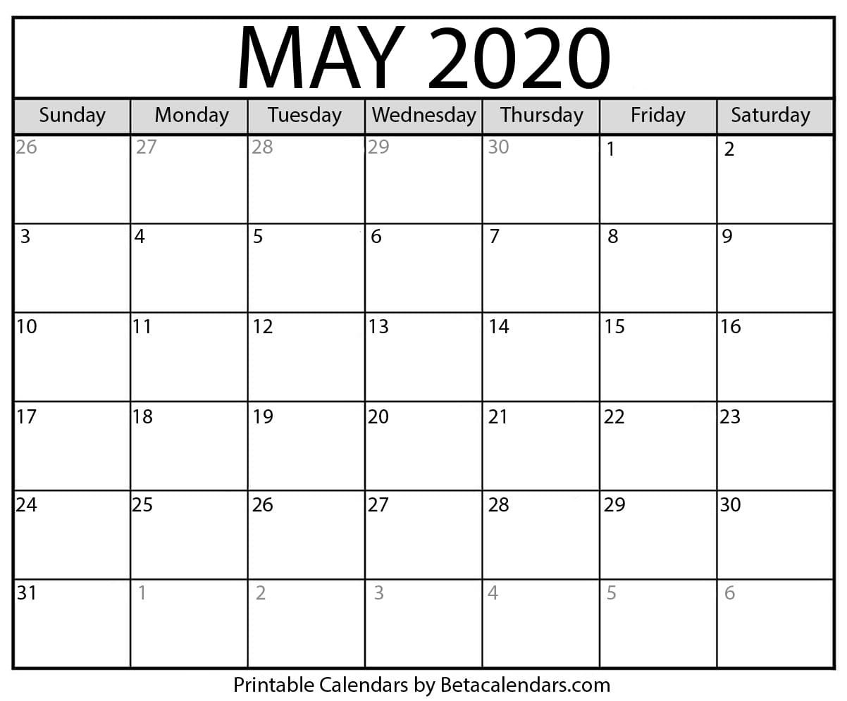 Printable May 2020 Calendar - Beta Calendars  Blank Calendar 2020