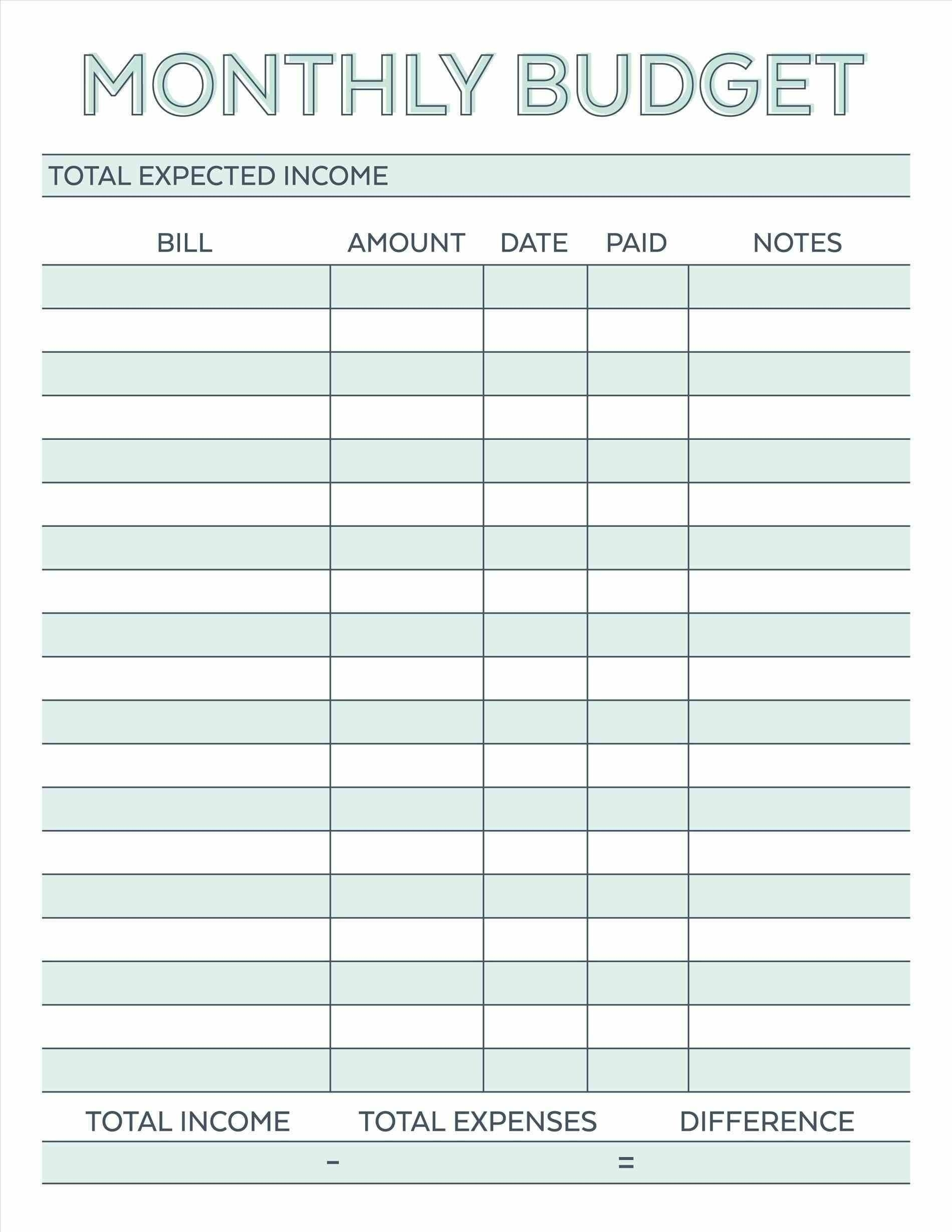 Printable Monthly Bill Payment Worksheet | Blank Calendar  Bill Payment Worksheet Printable