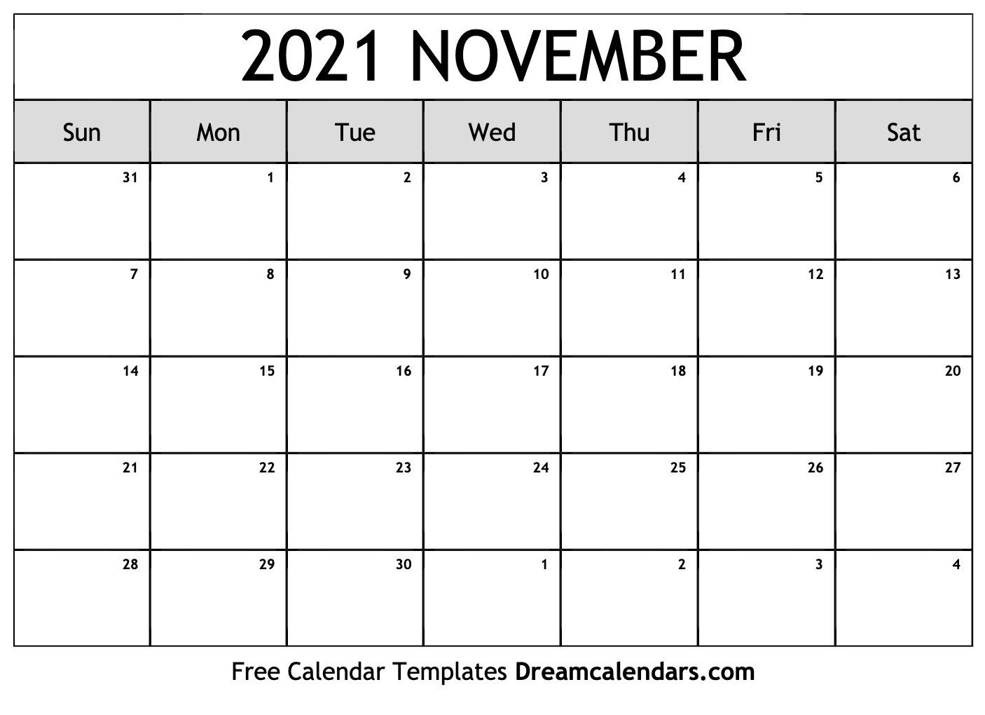 Printable November 2021 Calendar  2021 Free Printable Calendars Without Downloading November