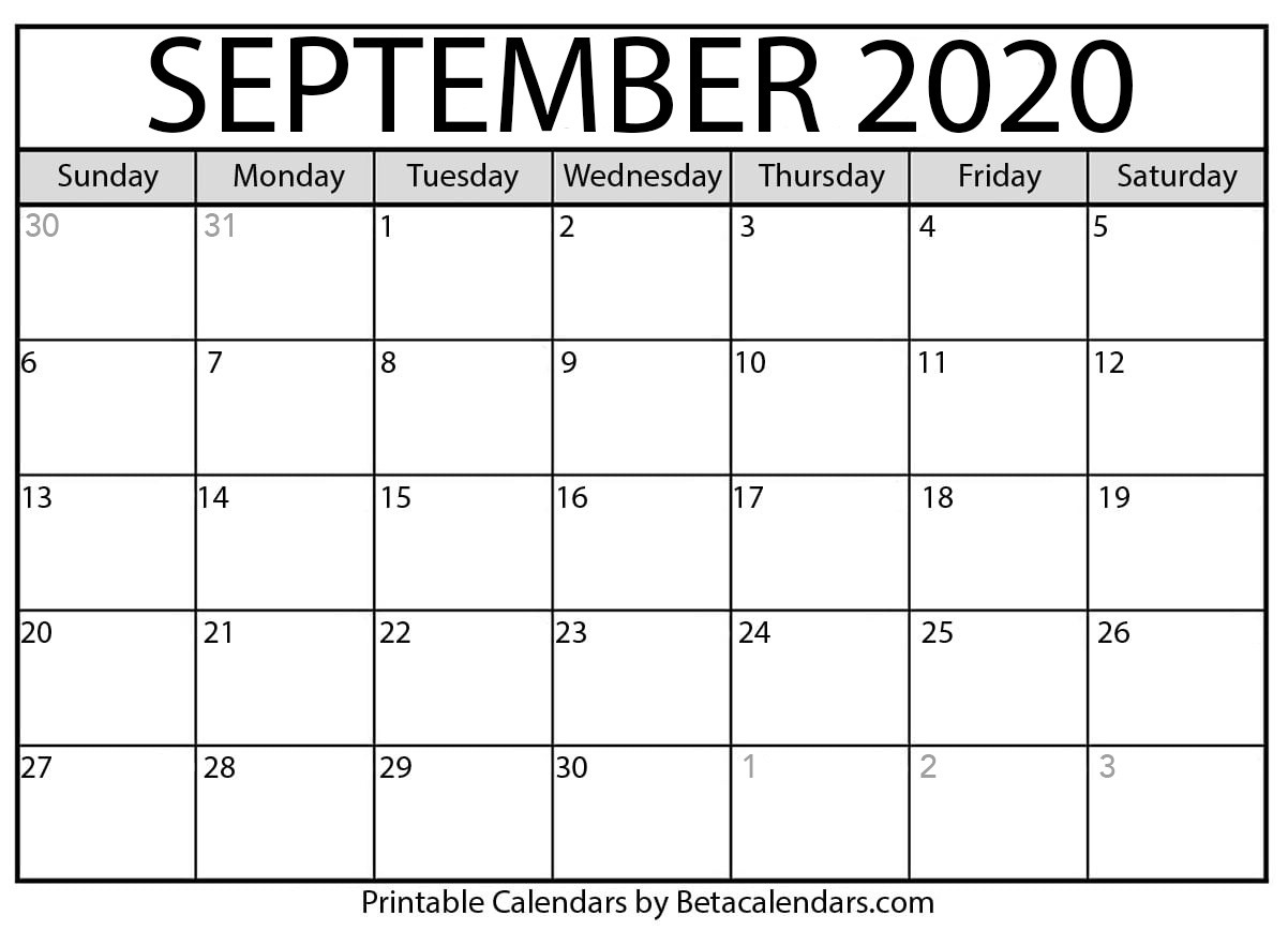 Printable September 2020 Calendar - Beta Calendars  2020 Calendar September To November