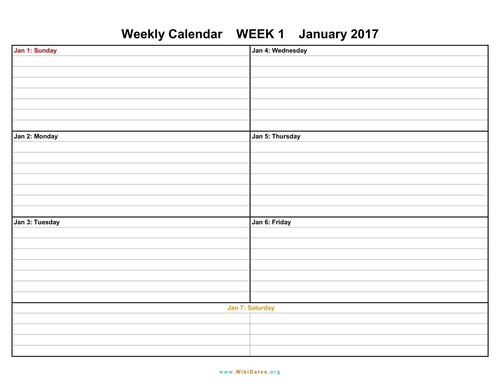 Printable Weekly Calendar 2018 Printable Weekly Calendar  Design 7 Days Calendar Pdf