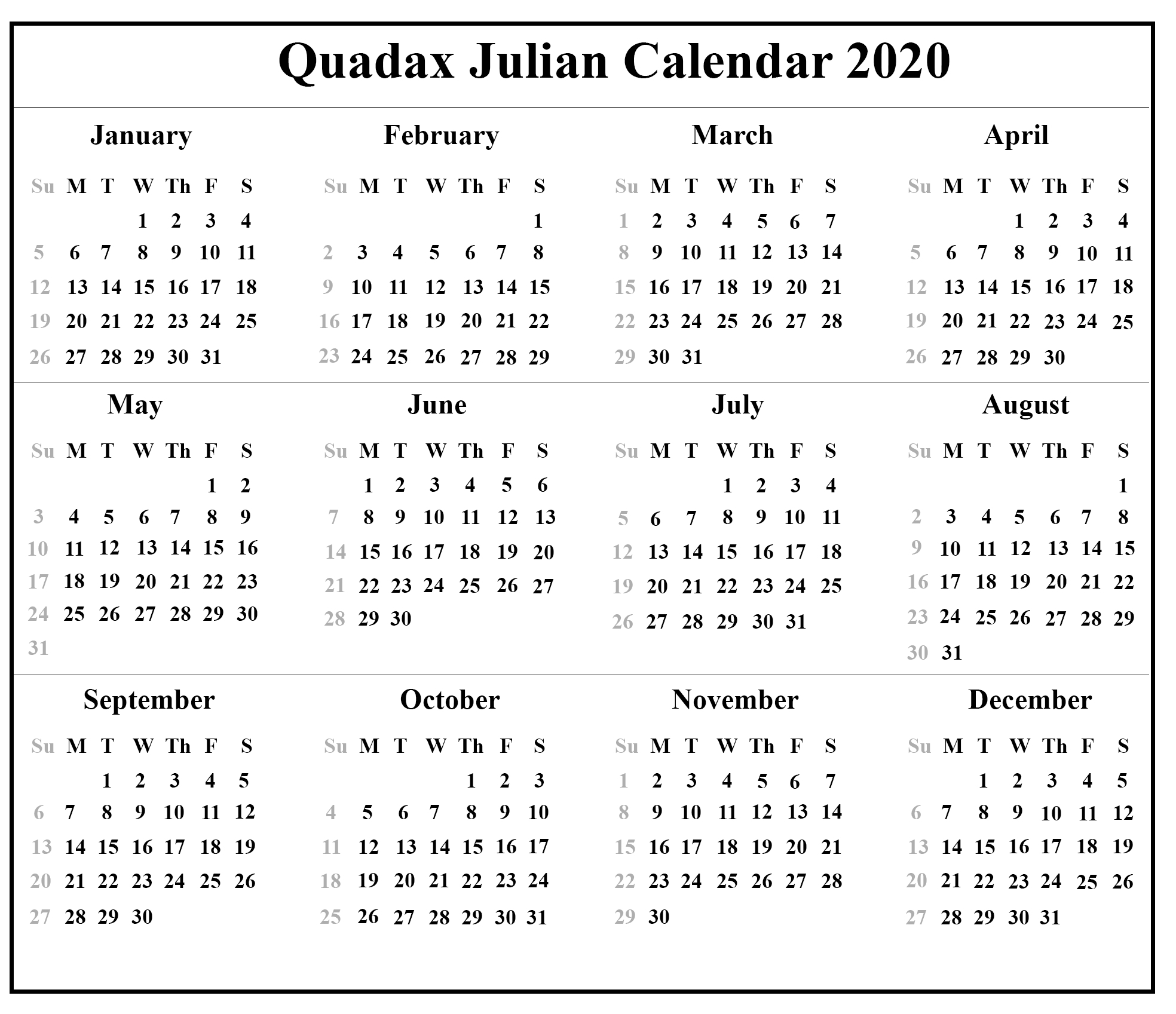 Quadax 2020 Julian Calendar | Calendar For Planning  Julian Calendar 2020