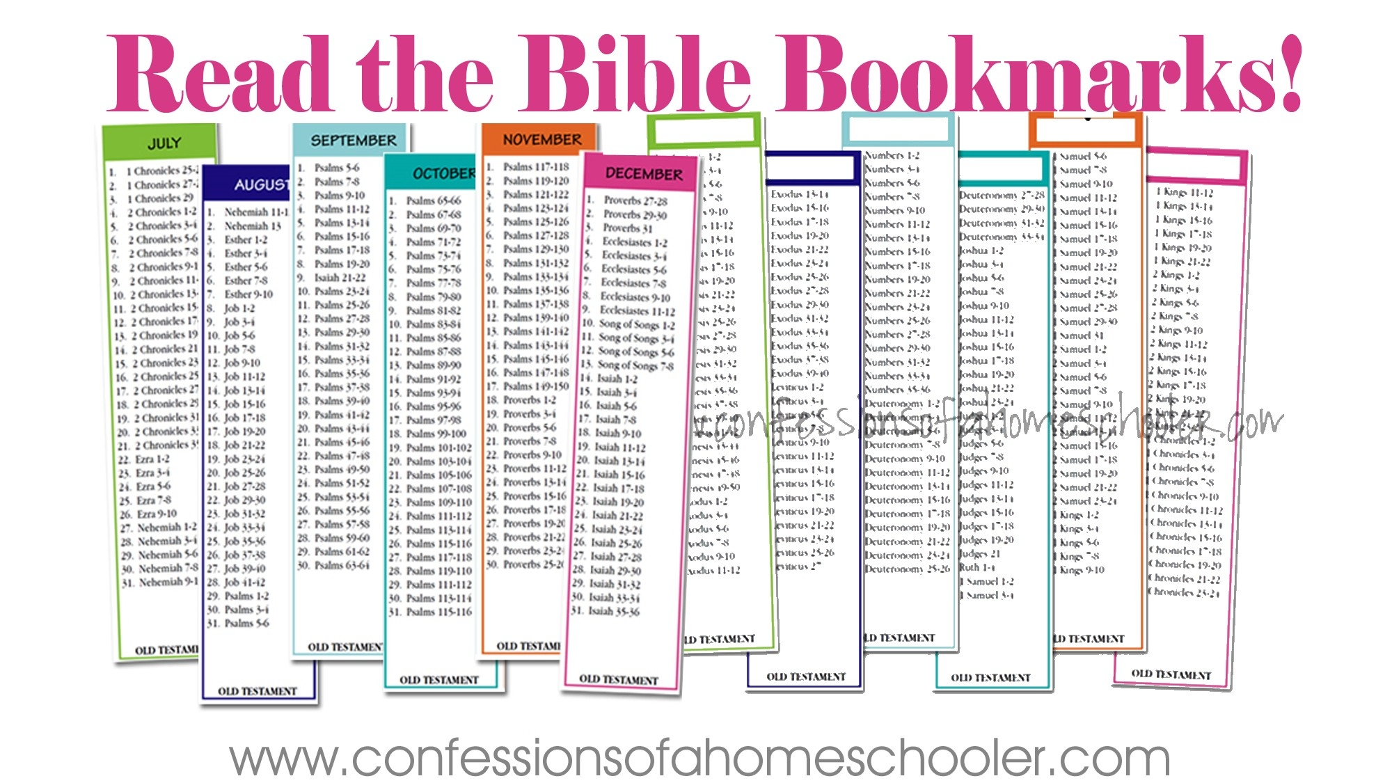 Read The Bible In Two Years Bookmarks - Confessions Of A  Free Printable Bible Reading Schedule