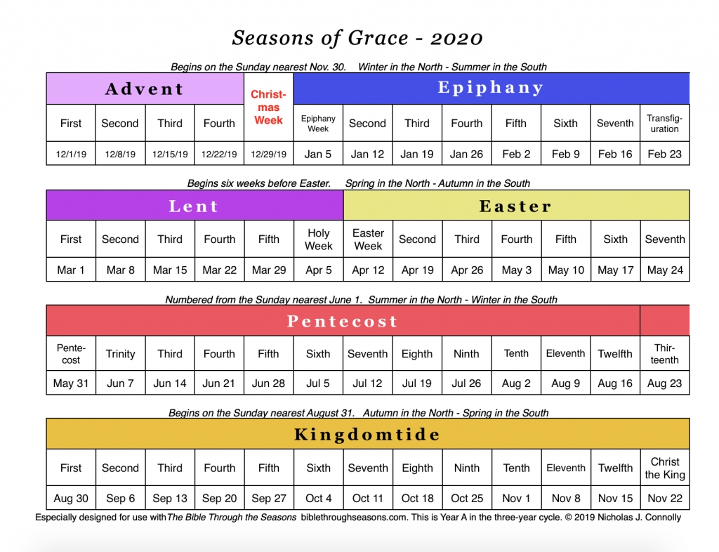 Seasons Of Grace: Liturgical Calendar – Matawan United  United Methodist 2020 Lectionary