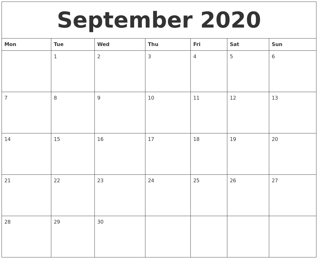 September 2020 Large Printable Calendar  2020 Calendar September To November