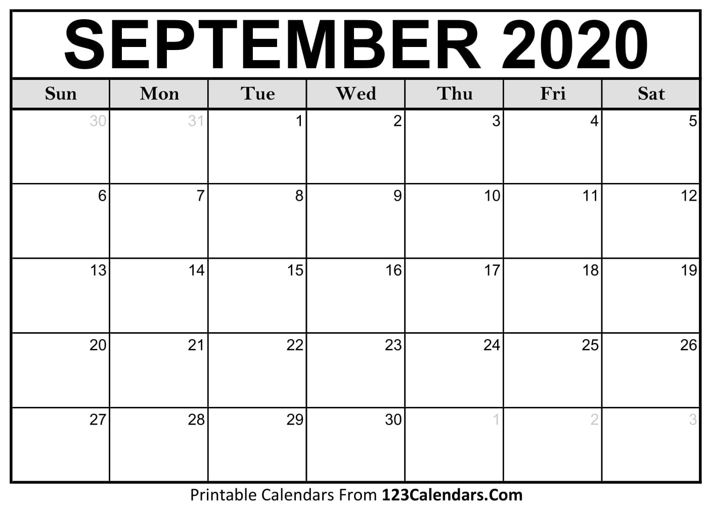 September 2020 Printable Calendar | 123Calendars  2020 Calendar September To November