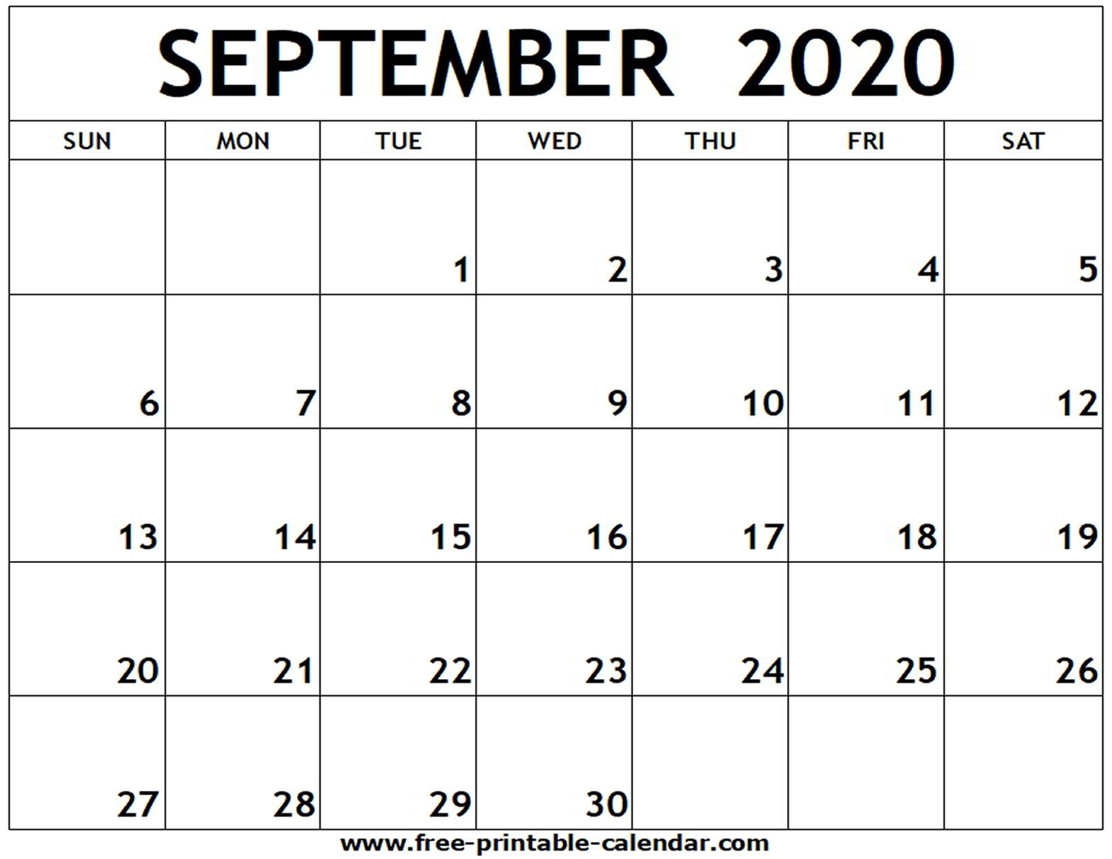 September 2020 Printable Calendar - Free-Printable-Calendar  2020 Calendar September To November