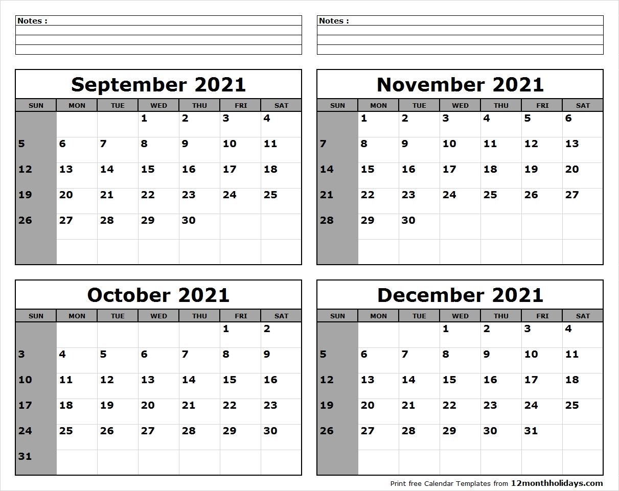 September-October-November-December-2021-Calendar-To-Print  Calendar October November December 2021