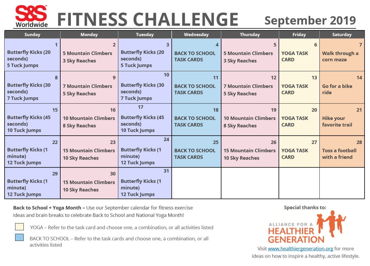 September Printable Fitness Challenge Calendar - S&s Blog  Exercise Challenge Printable