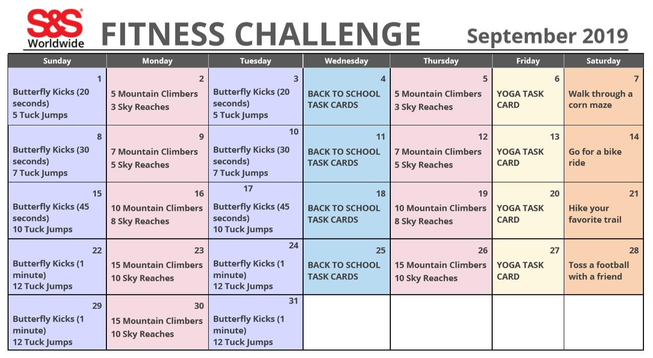 September Printable Fitness Challenge Calendar - S&s Blog  Fitness Challeng Caladar