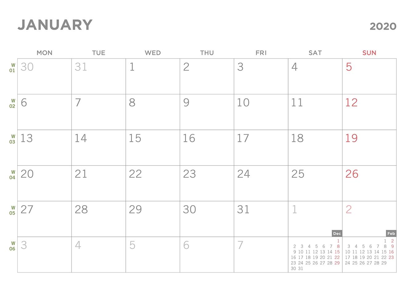 Simple 2020 Printable Pdf Calendar  2020 Calendar Simple