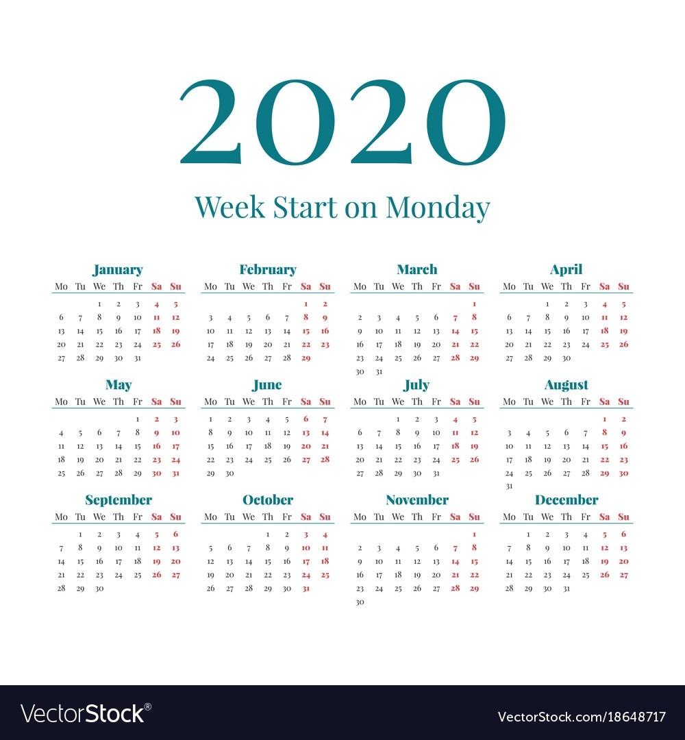 Simple 2020 Year Calendar  2020 Calendar Simple