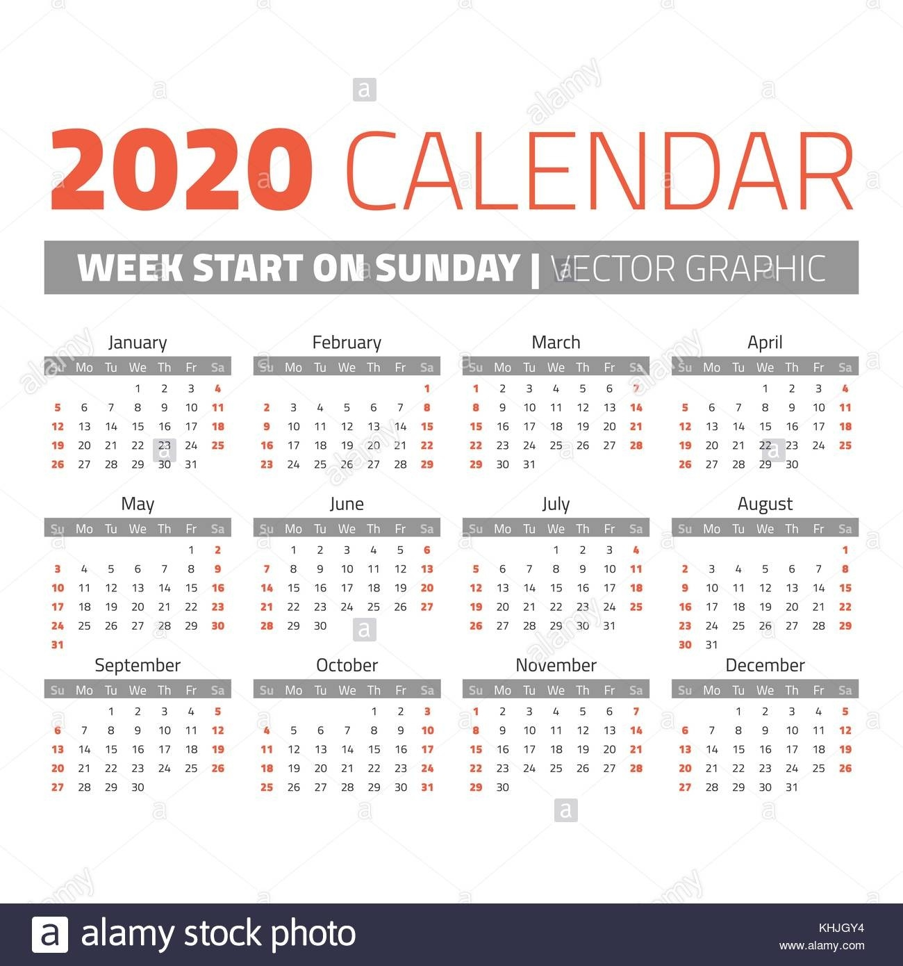 Simple 2020 Year Calendar. Weeks Start On Sunday Stock  2020 Calendar Simple