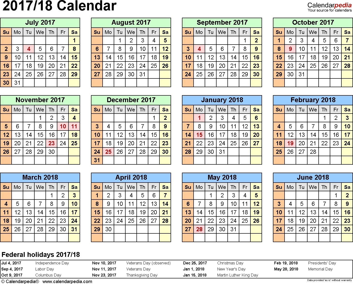 Split Year Calendars 2017/2018 (July To June) - Pdf Templates  Financial Year 19 Australia