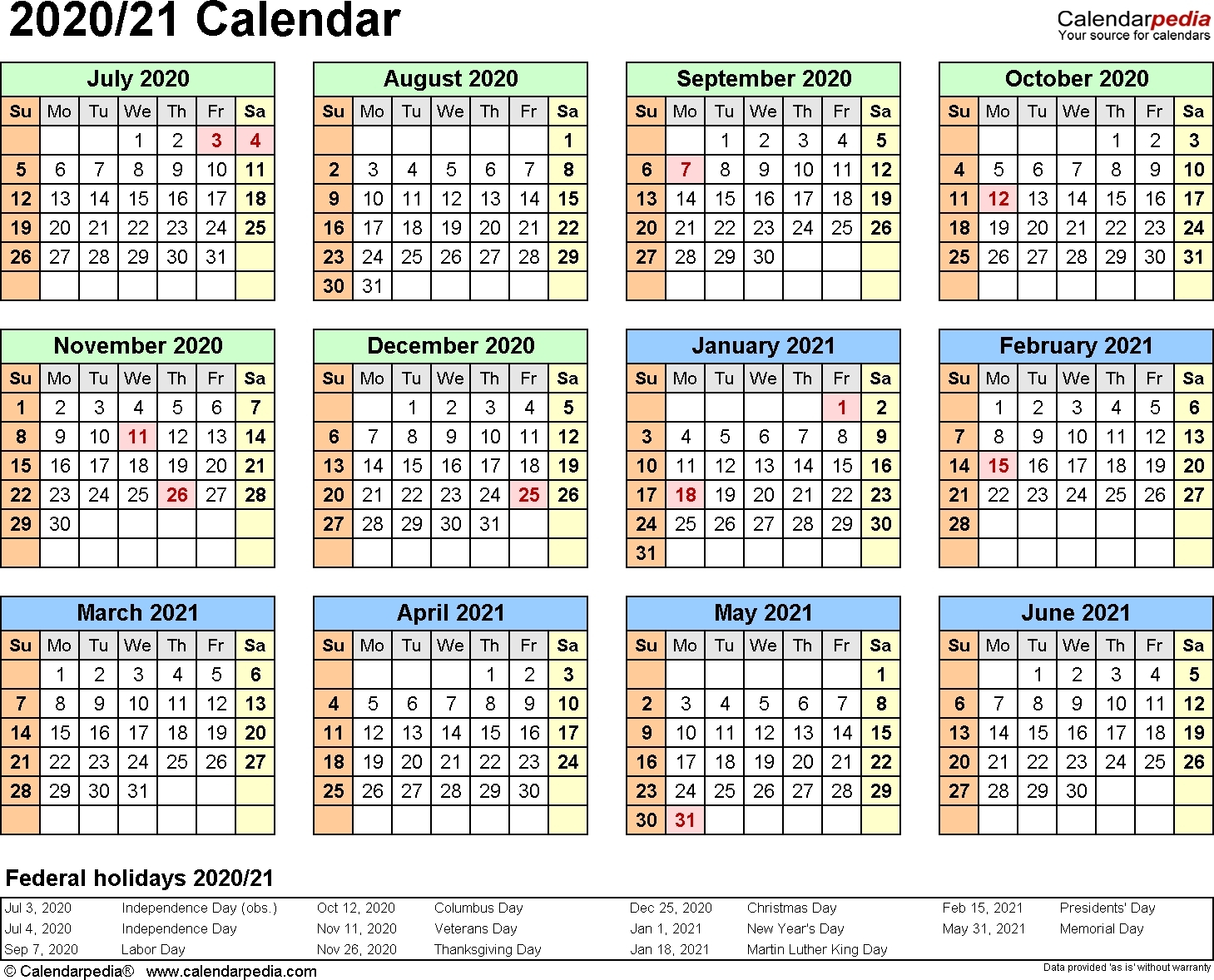 Split Year Calendars 2020/2021 (July To June) – Excel  Fiscal Calendarpedia 2021 July To June
