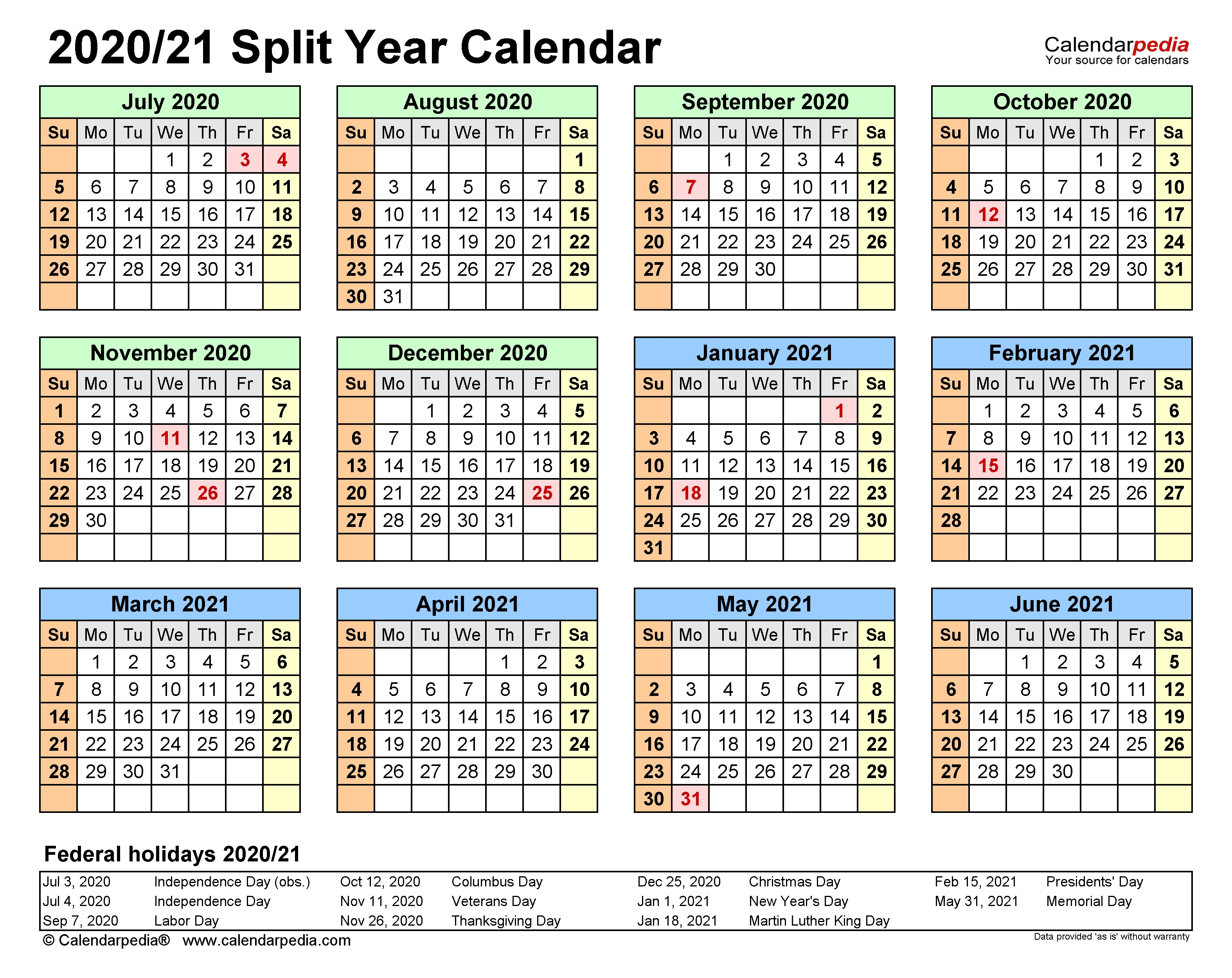 Split Year Calendars 2020/2021 (July To June) - Excel Templates  Fiscal Calendarpedia 2021 July To June