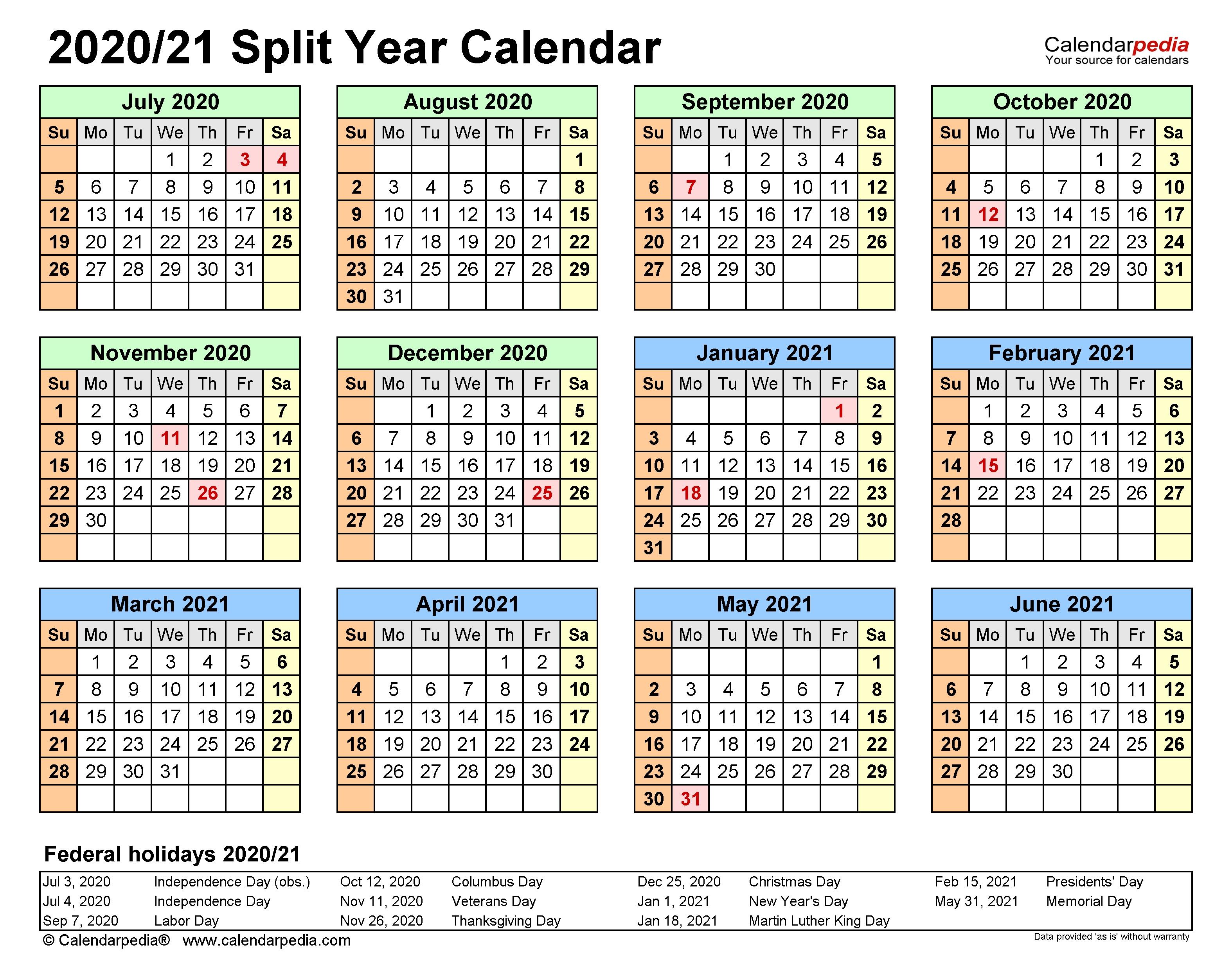 Split Year Calendars 2020/2021 (July To June) - Pdf Templates  Australian Fiscal Year 2021