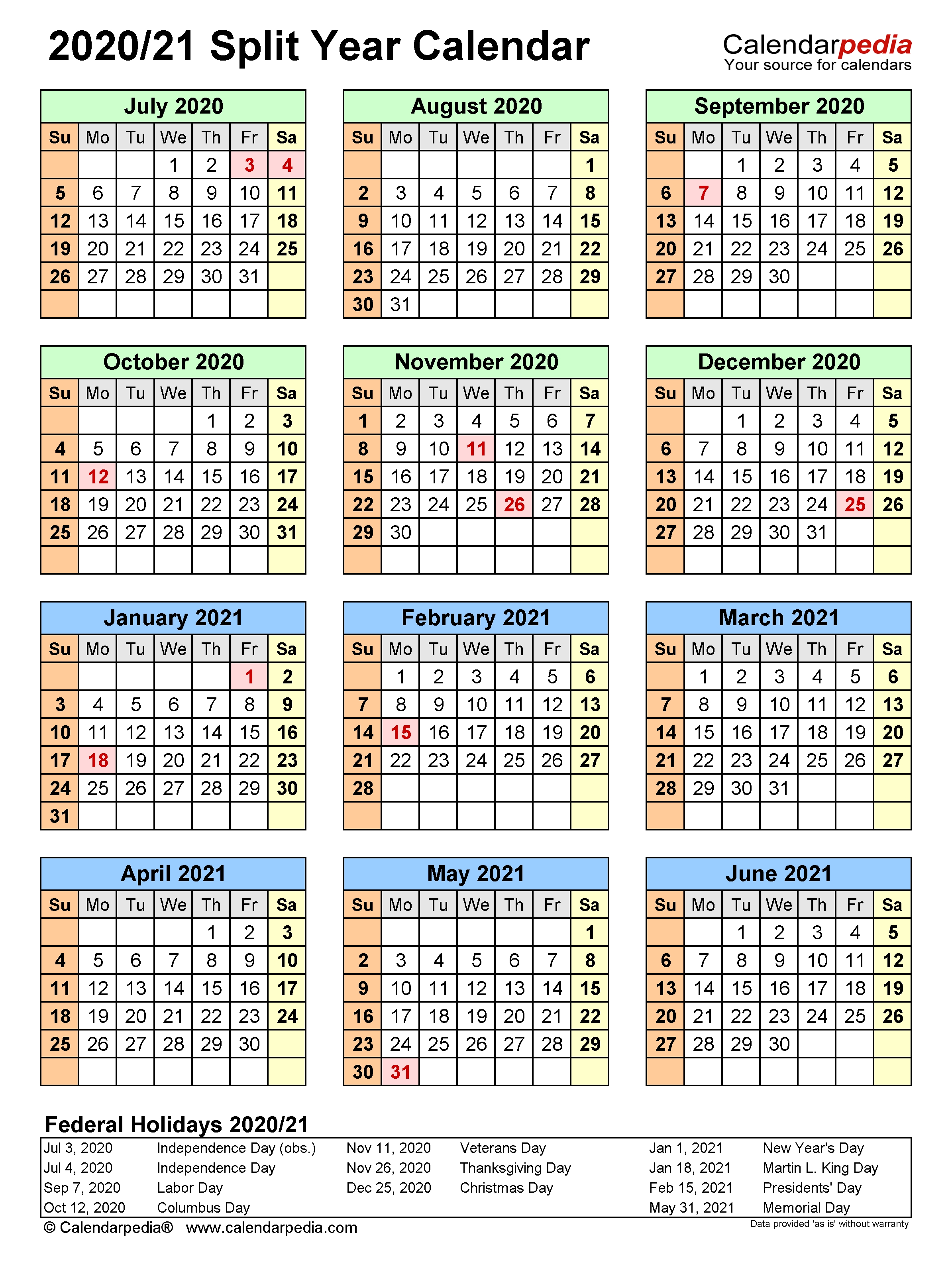 Split Year Calendars 2020/2021 (July To June) - Pdf Templates  June 2020-June 2021 Calendar
