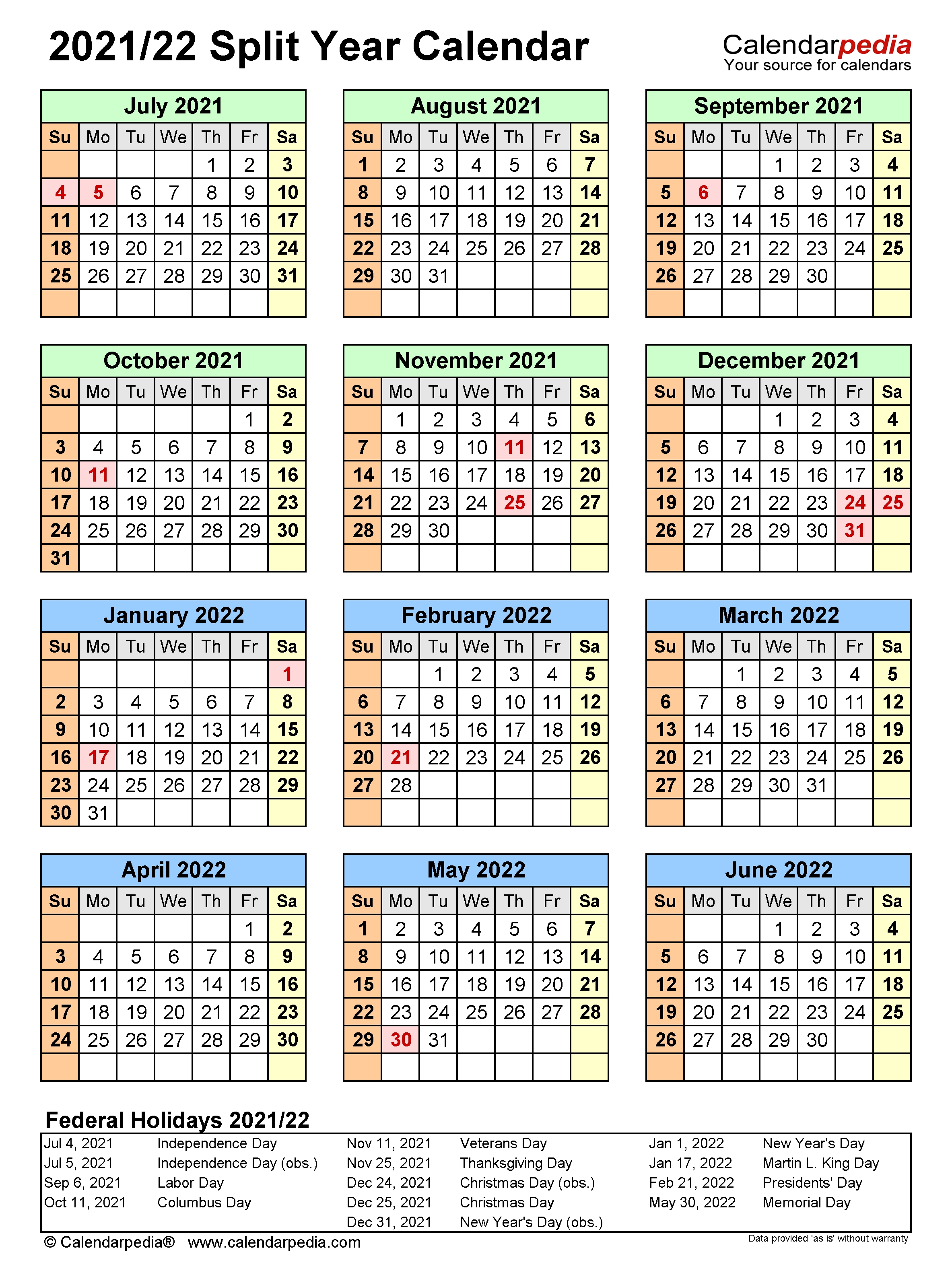 Split Year Calendars 2021/2022 (July To June) - Pdf Templates  Fiscal Calendarpedia 2021 July To June