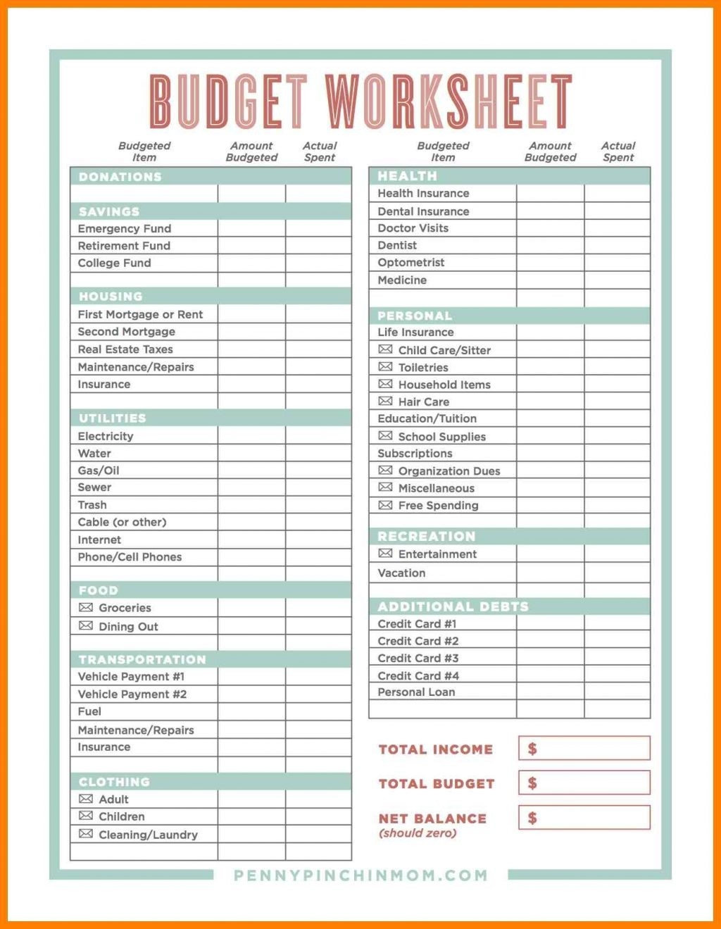 Spreadsheet Free Online Budget Worksheet Fillable Pdf  Fillable Monthly Bill Payment Worksheet Pdf