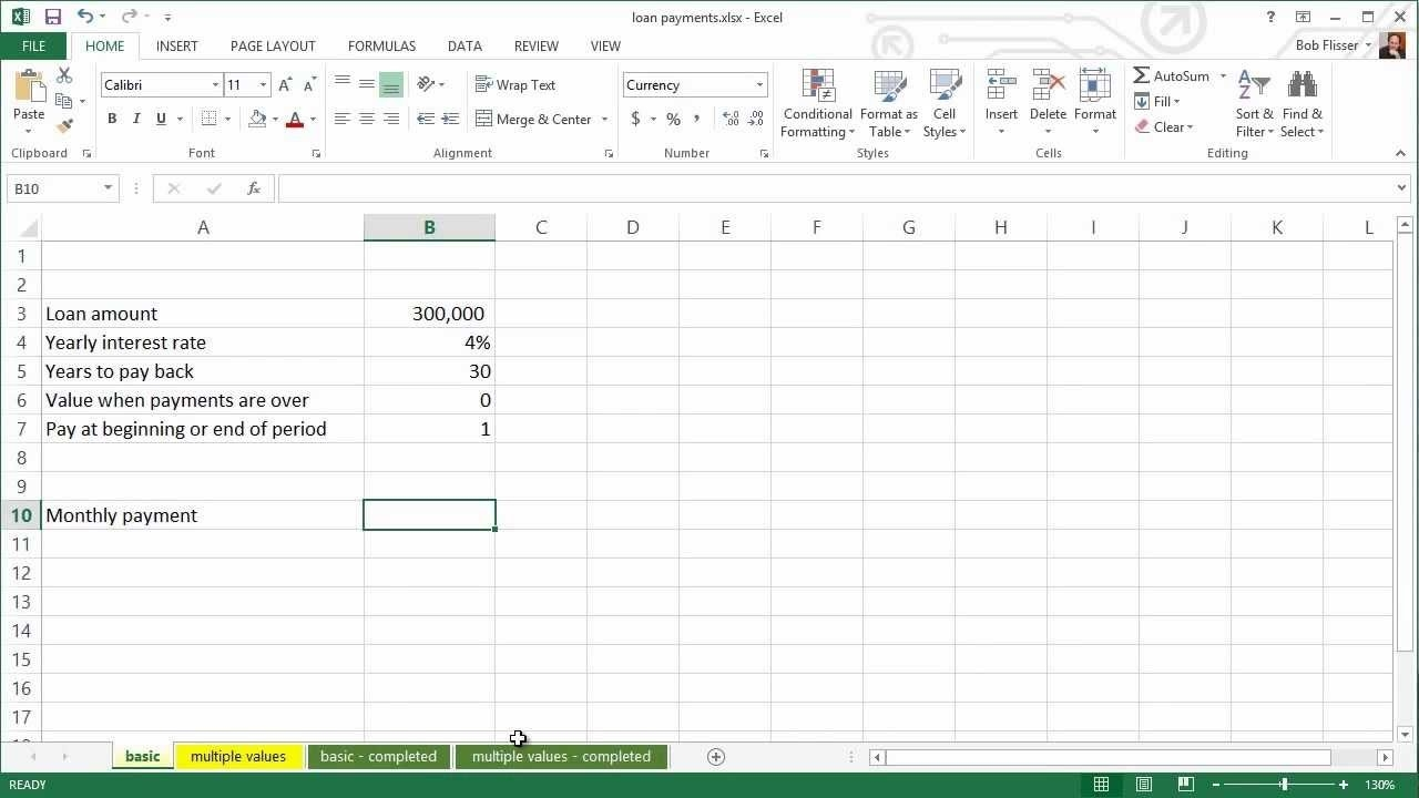 Spreadsheets For Finance: How To Calculate Loan Payments  Paid In And Out Spread Sheet
