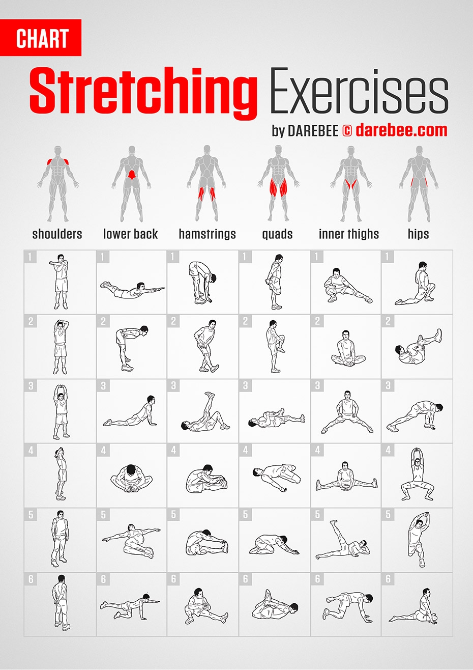 Stretching Exercises | Chartdarebee #darebee #fitness  Exercise Challenge Chart