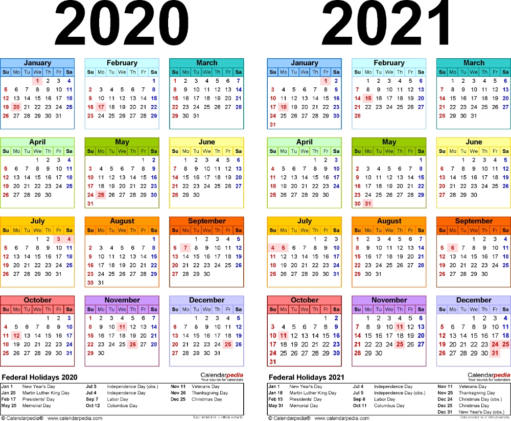 Template 2: Pdf Template For Two Year Calendar 2020/2021  Free Printable Yearly Calendar 2021 2020