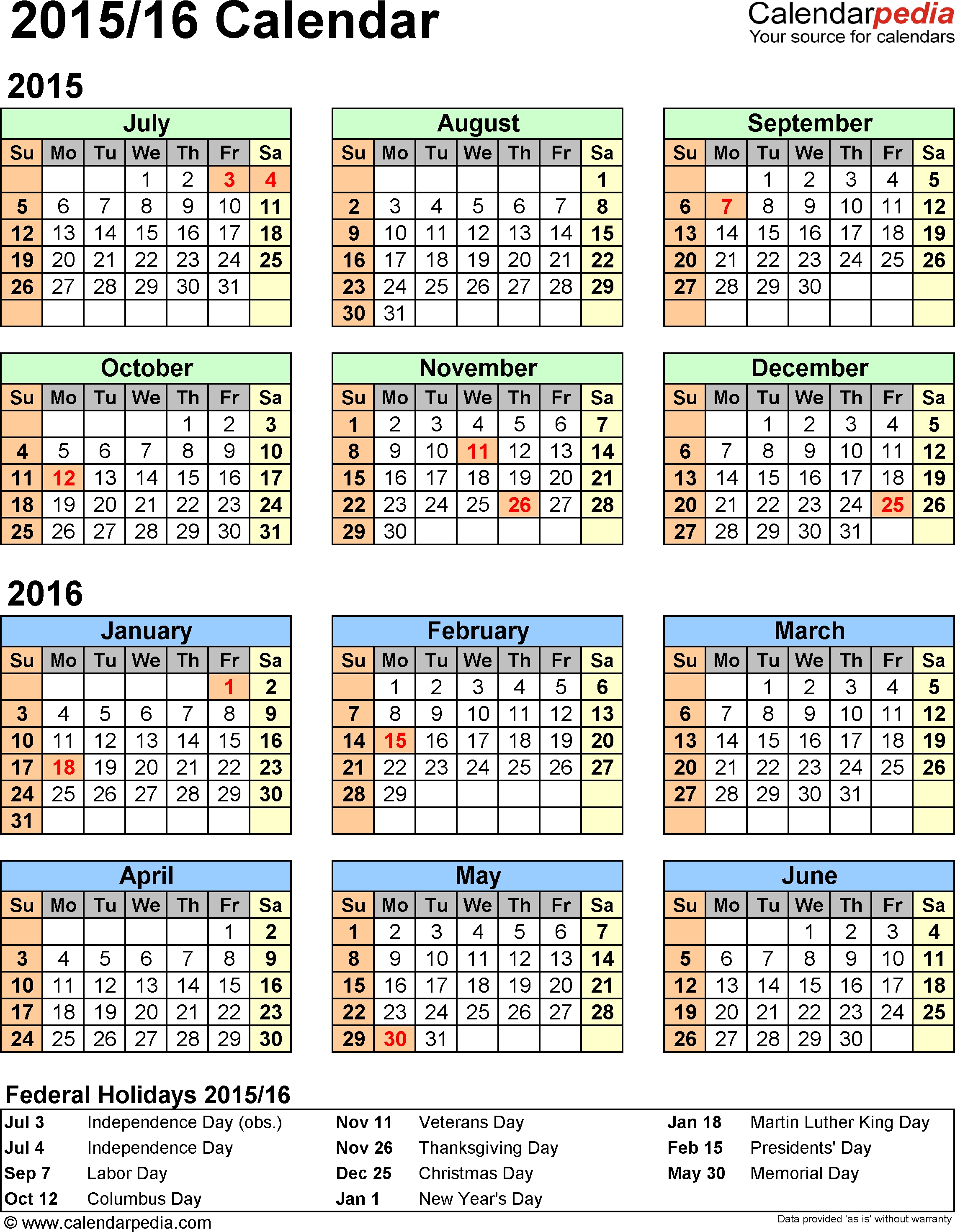 Template 2: Word Template For Split Year Calendar 2015/2016  18-19 Financial Year Dates